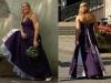 Paarse trouwjurk bestaande uit rok met petticoat en haltertop.